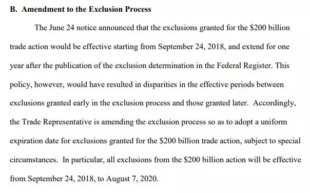 联邦公报中公布排除决定后延长一年USTR公告截图